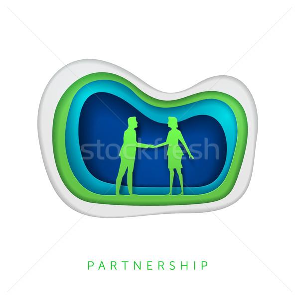 Negócio papel arte ilustração cooperação Foto stock © sgursozlu