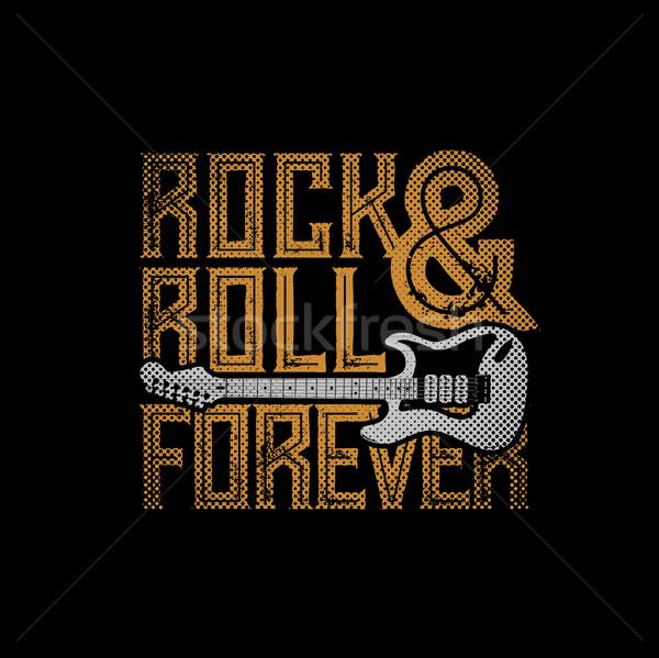 Rock rollen voor altijd typografisch ontwerp tshirt Stockfoto © sgursozlu