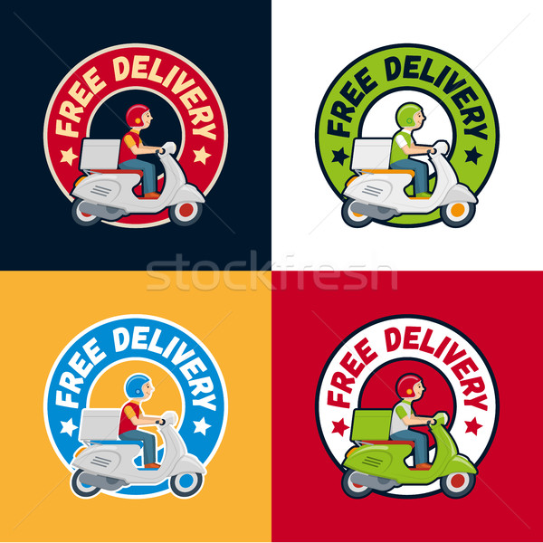 Vector delivery service scooter label set Stock photo © sgursozlu