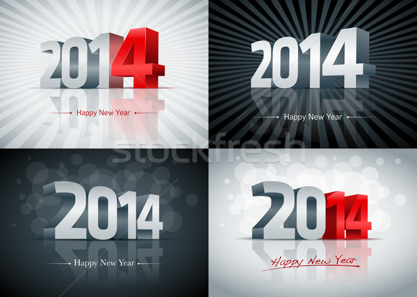 2014 с Новым годом набор карт Элементы Сток-фото © sgursozlu