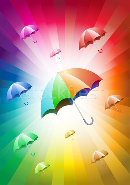 Guarda-chuvas colorido céu água natureza fundo Foto stock © sgursozlu