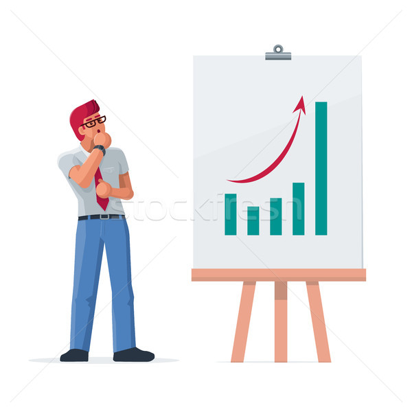Businessman look at growth graph.  Stock photo © sgursozlu