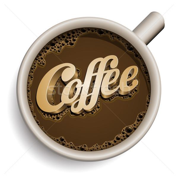 Csésze kávé szöveg vektor valósághű összes Stock fotó © sgursozlu