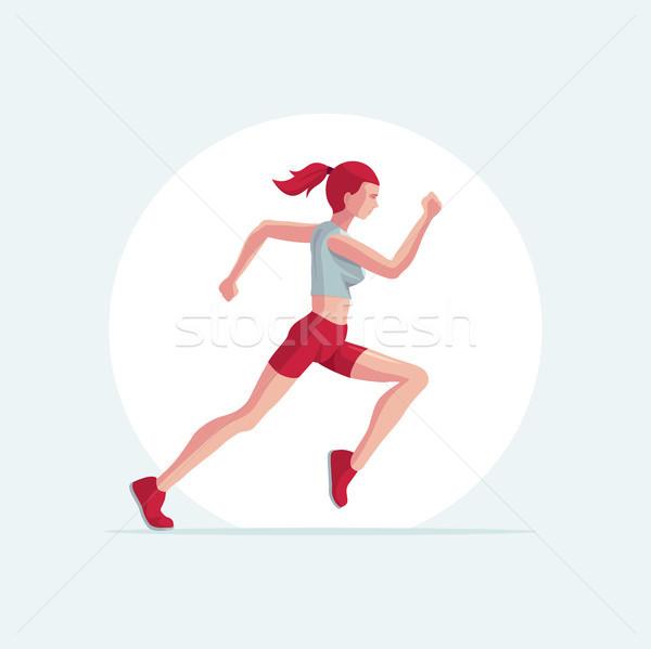 Läufer Frau Vektor Illustration läuft einfach Stock foto © sgursozlu