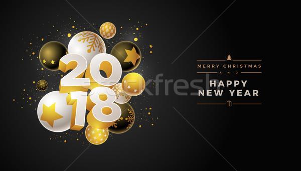 új év terv absztrakt üdvözlőlap 3D fehér Stock fotó © sgursozlu