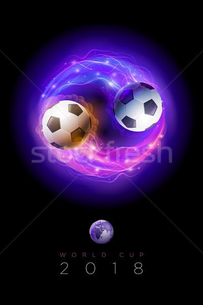 Stockfoto: Voetbal · vlammen · lichten · zwarte · wereld · beker
