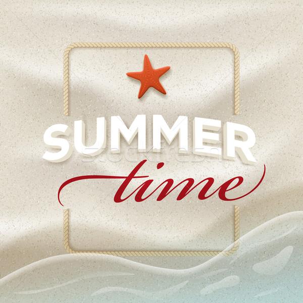 Nyár üzenet tengerparti homok vektor design sablon elemek Stock fotó © sgursozlu