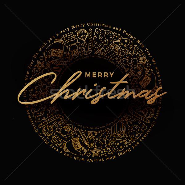 Golden Merry Christmas Greeting Card Design Stock photo © sgursozlu