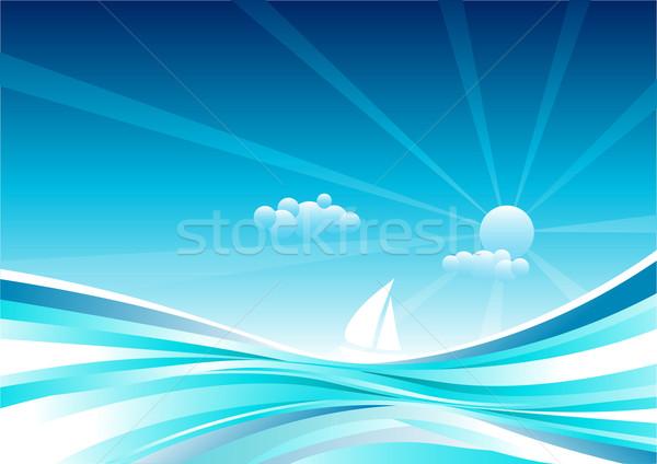 Veleiro mar abstrato oceano camadas vetor Foto stock © sgursozlu
