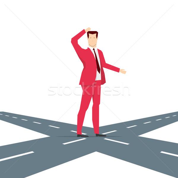 Stok fotoğraf: Kırmızı · takım · elbise · işadamı · seçim · düşünme · adam