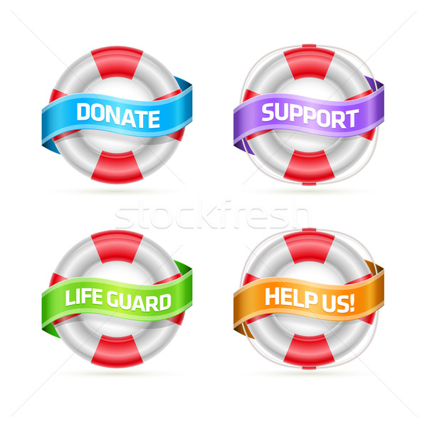 Life buoy banner set Stock photo © sgursozlu