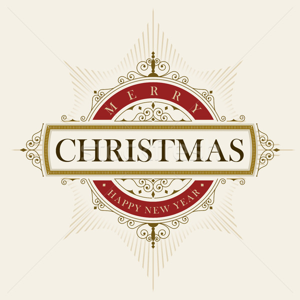 Elegant Christmas vector frame and emblem template Stock photo © sgursozlu