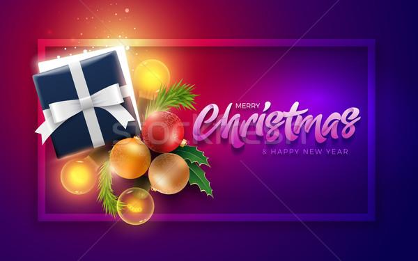 Karácsony dekoráció tárgyak ajándék doboz varázslatos fények Stock fotó © sgursozlu
