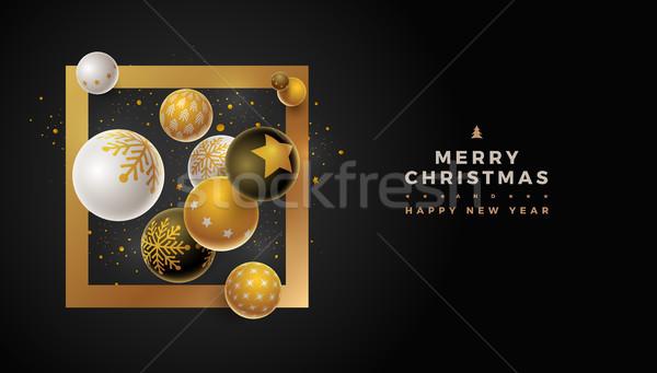 Foto stock: Alegre · natal · modelo · de · design · abstrato · ano · novo · cartão