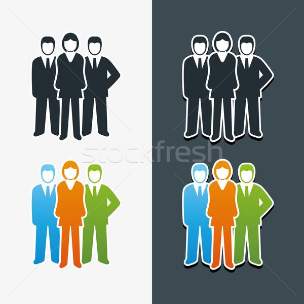 Stock fotó: Nők · vektor · izolált · üzletemberek · ikon · gyűjtemény · csapatmunka