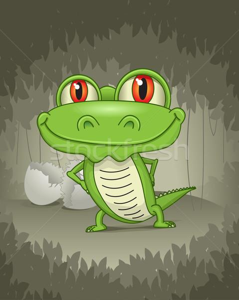 Baba krokodil vektor dzsungel erdő absztrakt Stock fotó © sgursozlu