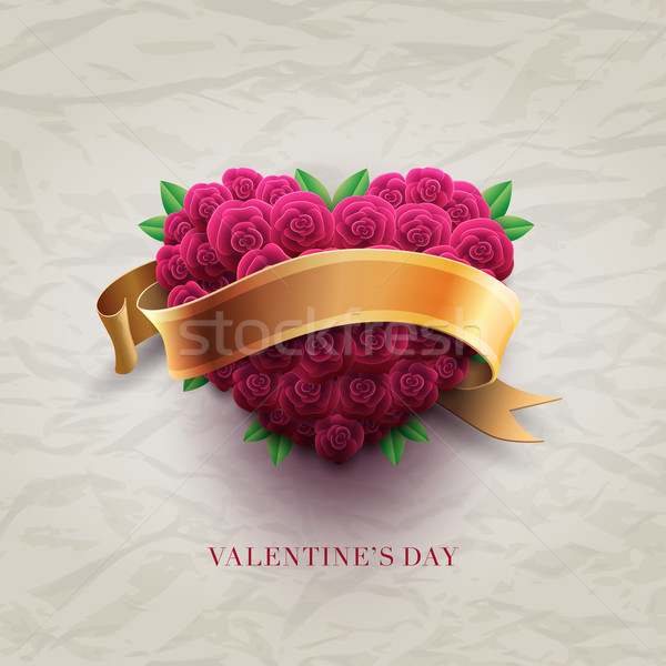 Dia dos namorados cartão rosas vetor retro cartão Foto stock © sgursozlu