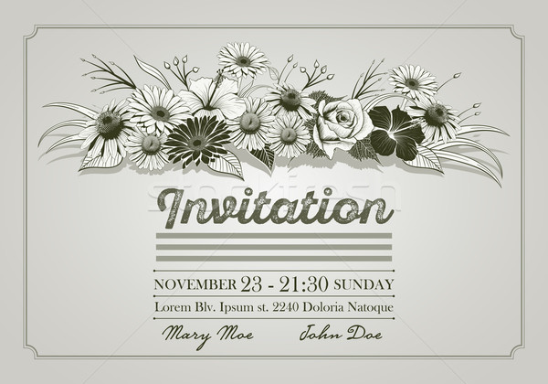 Hand drawn Flower Invitation Stock photo © sgursozlu