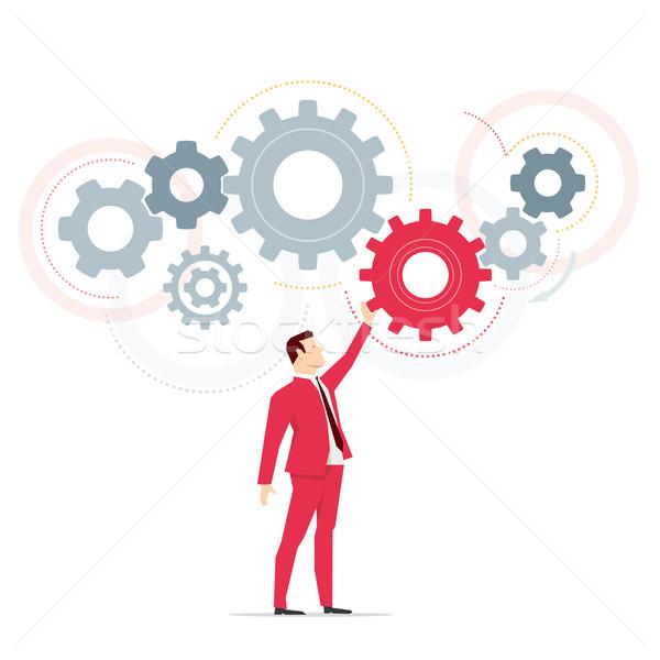 Foto stock: Vermelho · terno · empresário · trabalhar · negócio · mão