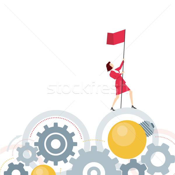 Stok fotoğraf: Kırmızı · takım · elbise · işkadını · iş · adamları · kadın · soyut