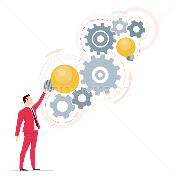 Foto stock: Vermelho · terno · empresário · direito · idéias · trabalhar
