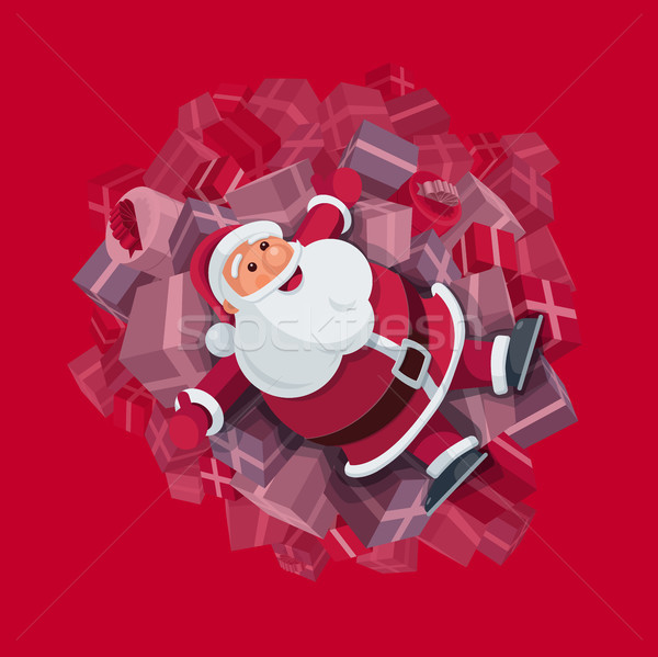 Santa Claus on gift boxes Stock photo © sgursozlu