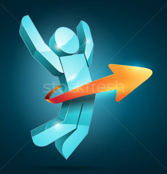 Gagnant 3D vecteur sautant homme flèche Photo stock © sgursozlu