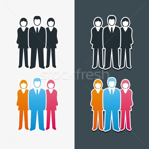 Stock fotó: Férfiak · vektor · izolált · üzletemberek · ikon · gyűjtemény · csapatmunka