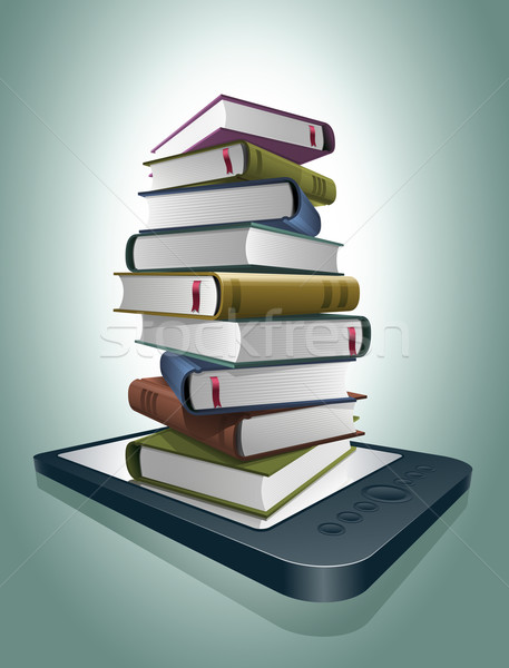Stack of books on e-reader. Stock photo © sgursozlu