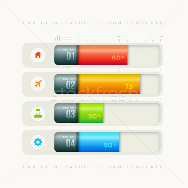 Bar infographic design template Stock photo © sgursozlu