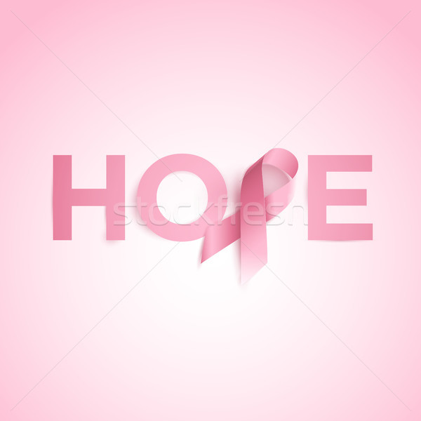 Hope Word With Breast Cancer Awareness Ribbon Stock photo © sgursozlu