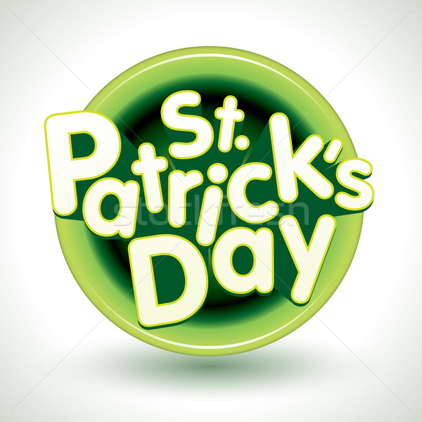 Jour de St Patrick badge 3D texte vecteur design Photo stock © sgursozlu