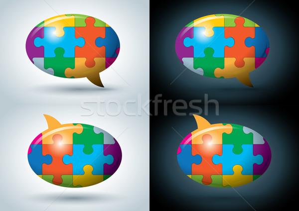 Puzzle speech balloon Stock photo © sgursozlu