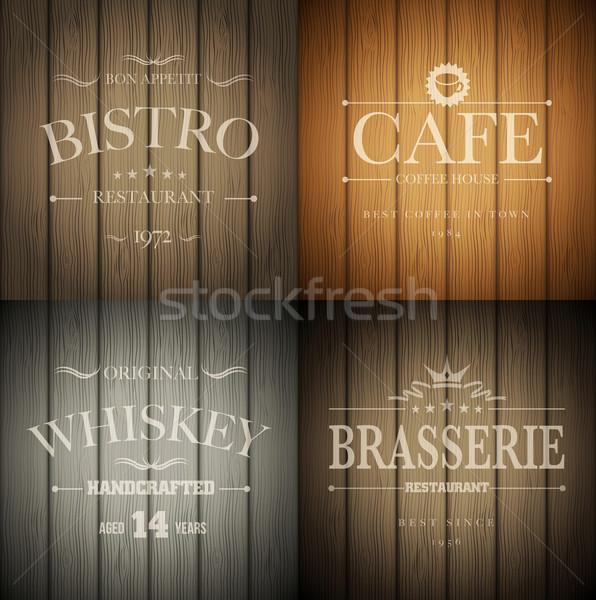 ストックフォト: 木の質感 · カフェ · ウイスキー · エンブレム · テンプレート