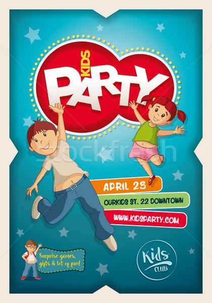 Kinderen partij poster ontwerpsjabloon vector jongen Stockfoto © sgursozlu