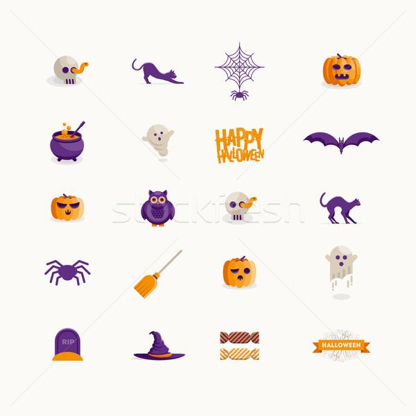 Stockfoto: Vector · halloween · symbool · ontwerp · ingesteld · icon