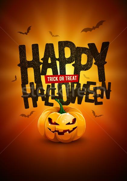 Szczęśliwy halloween plakat projektu wektora sztuczka Zdjęcia stock © sgursozlu