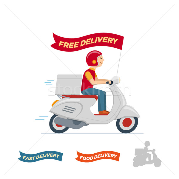 Vector delivery service scooter illustration Stock photo © sgursozlu