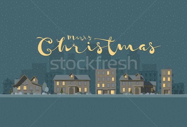 Рождества городского пейзаж вектора иллюстрация зима Сток-фото © sgursozlu