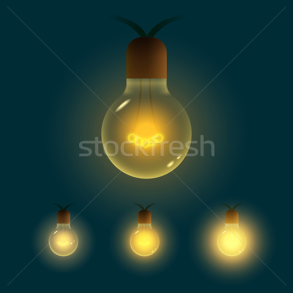 Vector illustration of old lightbulb collection. Stock photo © sgursozlu