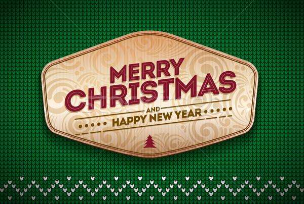 Kötött vidám karácsony boldog új évet üzenet vektor Stock fotó © sgursozlu