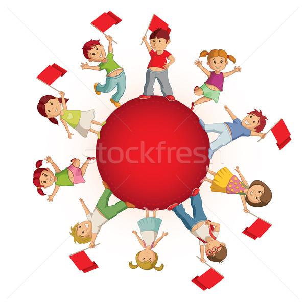детей сфере флагами Мир девушки ребенка Сток-фото © sgursozlu