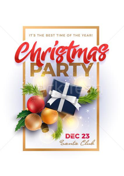 Christmas Pary Poster Design Template Stock photo © sgursozlu