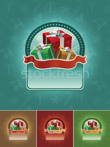 Photo stock: Cadeau · bannière · Noël · coffrets · cadeaux · tous