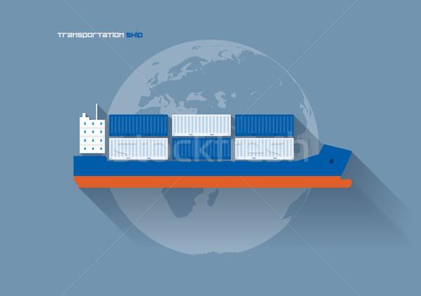 транспорт судно вектора икона иллюстрация грузовое судно Сток-фото © sgursozlu