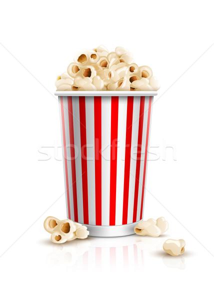 Foto d'archivio: Popcorn · finestra · dettagliato · isolato · bianco · eps10
