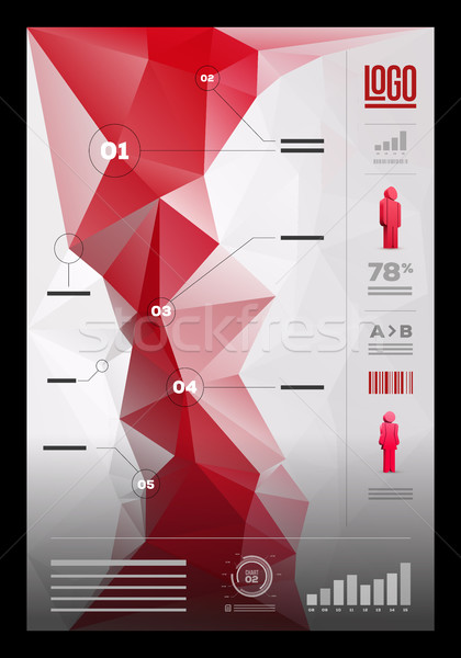 Polygonal infographic design template Stock photo © sgursozlu