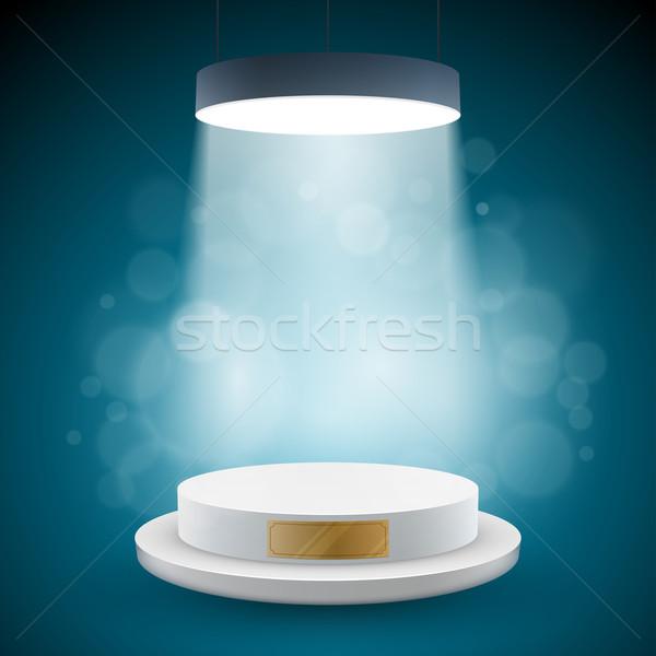Illuminated white round podium Stock photo © sgursozlu