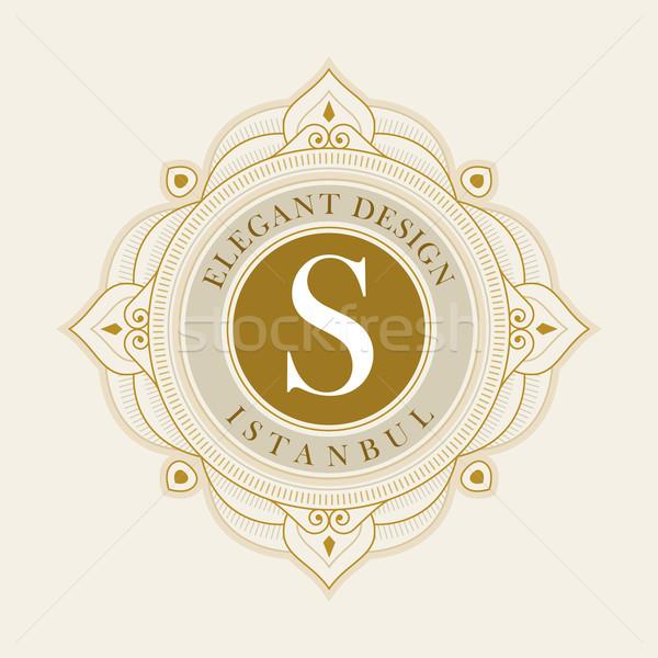 Elegáns vektor embléma sablon luxus keret Stock fotó © sgursozlu