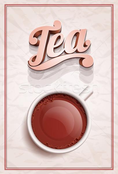 Кубок чай плакат шаблон вектора реалистичный Сток-фото © sgursozlu